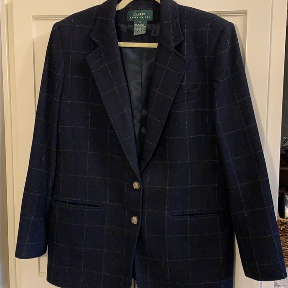 Ralph Lauren Jackets & Blazers - Ralph Lauren navy plaid wool blazer jacket